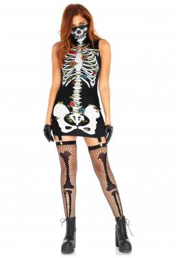 Travestimento scheletro vestito con reggicalze Leg Avenue