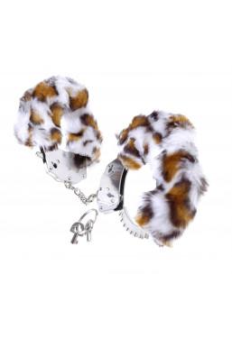Manette in metallo eco pelliccia leopardo Pipedream