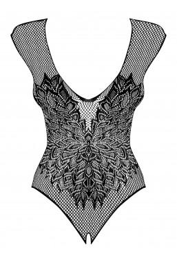 Sexy body nero aperto sotto con ali disegnate Obsessive Lingerie.