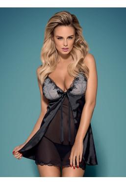 Sexy sottoveste nera in raso Greylita Obsessive Lingerie