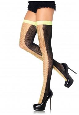 Sexy calze autoreggenti a rete giallo neon e nero Leg Avenue