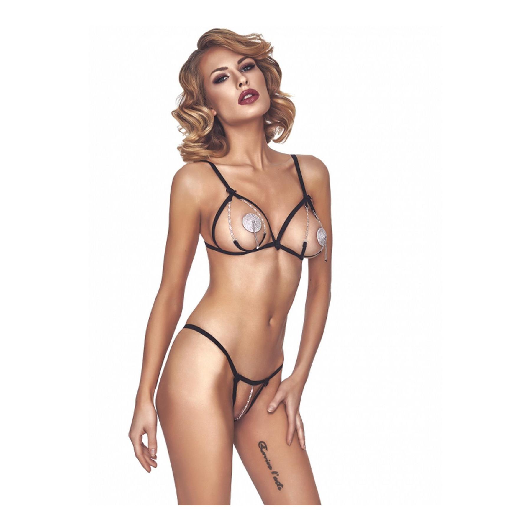 Sexy Completino intimo ouvert nero con dtringhe e catene Anais Lingerie