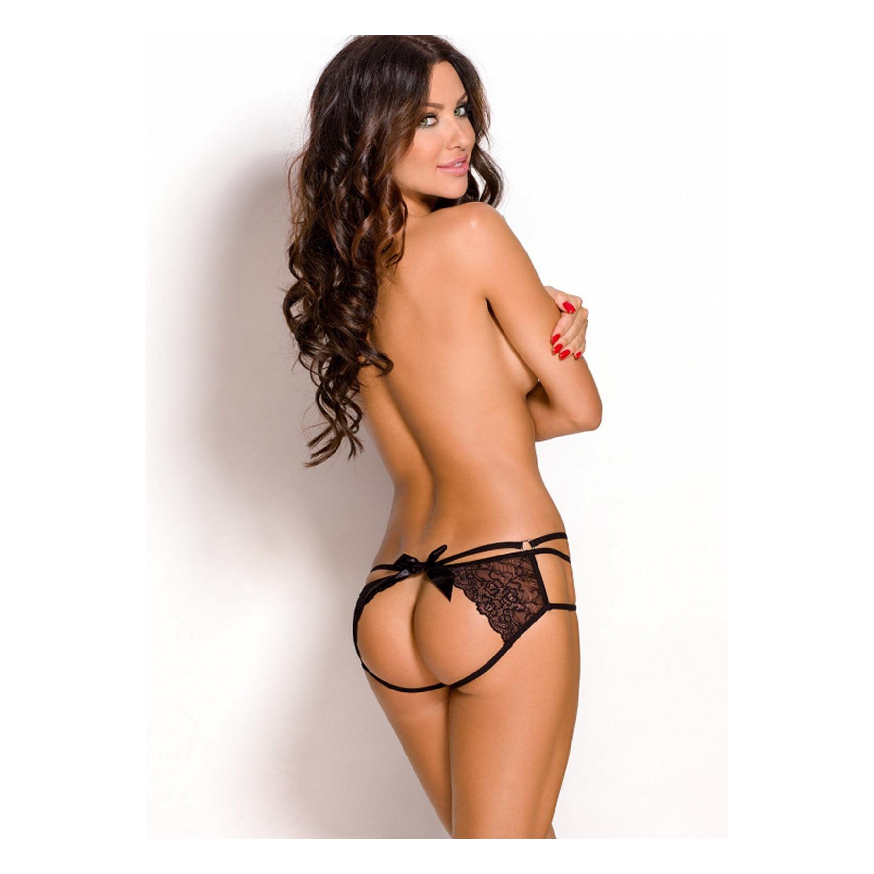 Mutandine aperte dietro Anais Lingerie, sexy slip in pizzo nero Jill