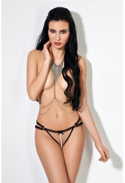 Sexy tanga aperto nero con perle Le Frivole