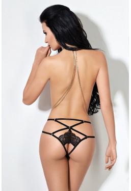 Sexy mutandine aperte in pizzo nero con retro stringato Le Frivole Lingerie