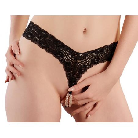 Sexy Tanga aperto in pizzo nero e perle Cottelli Collection Lingerie
