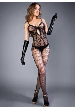Bodystocking in pizzo e...