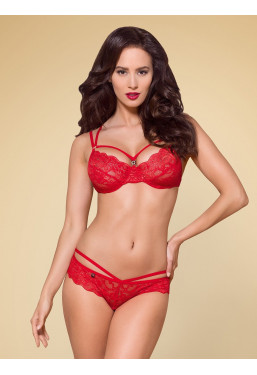 Completino intimo in pizzo rosso 860 Obsessive Lingerie