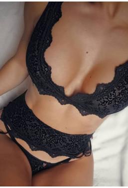 Sexy completo intimo nero 3 pezzi Emperita Obsessive