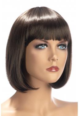 Parrucca castana caschetto con frangia World Wigs