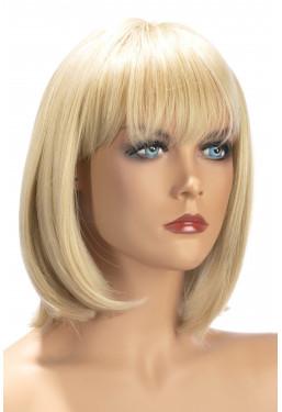 Parrucca bionda caschetto con frangia World Wigs