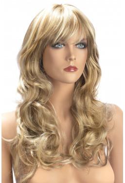 Parrucca bionda capelli mossi con frangia World Wigs