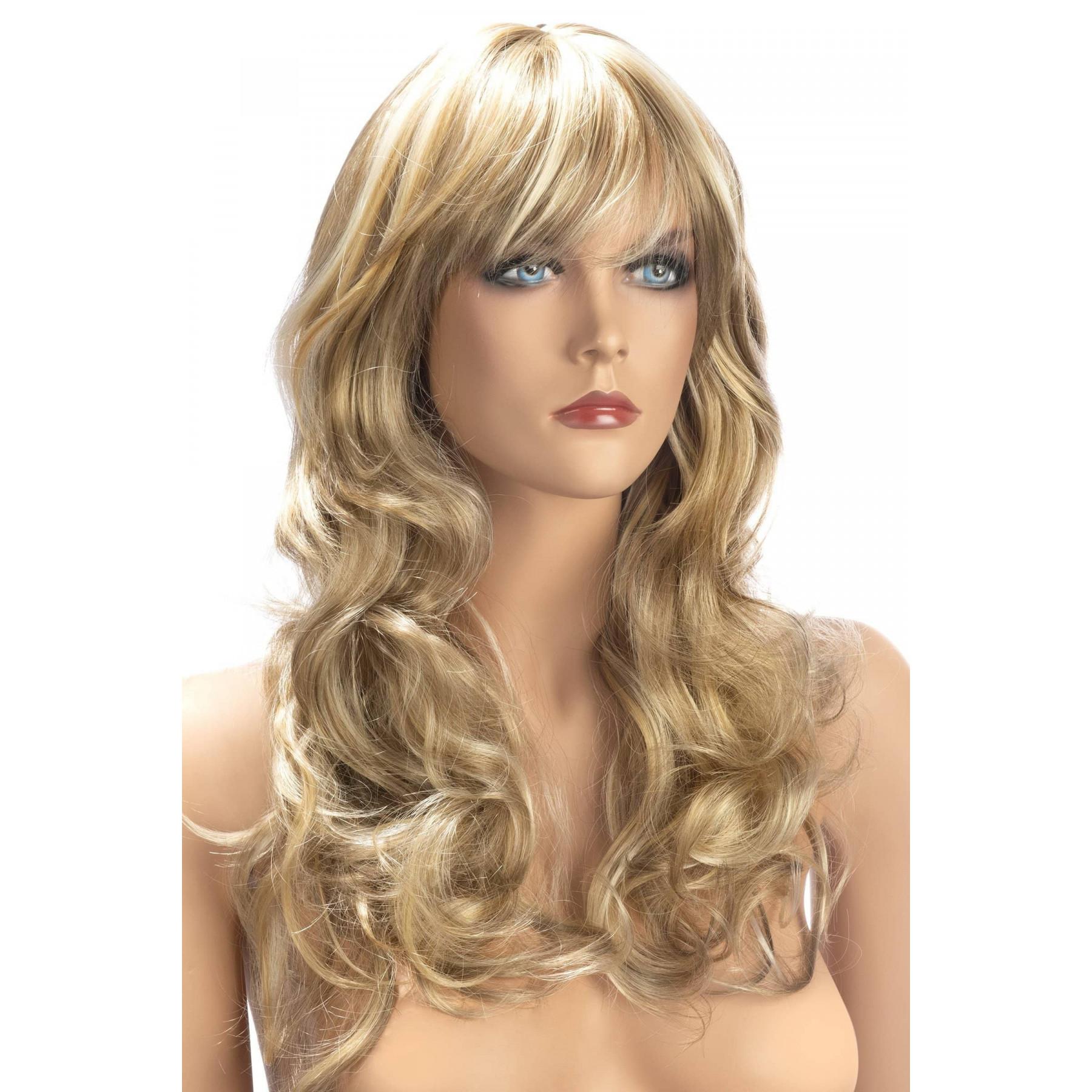Parrucca bionda con capelli lunghi mossi con meches dorate