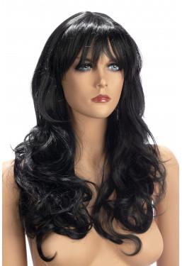 Parrucca capelli neri mossi con frangia World Wigs