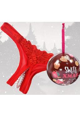 Perizoma rosso con perle con palla di Natale