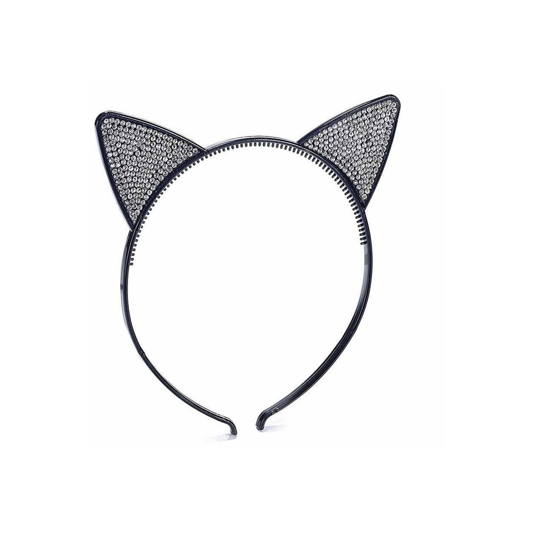 Cerchietto nero con orecchie di gatto e strass