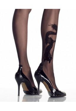 Collant tattoo con stampa drago