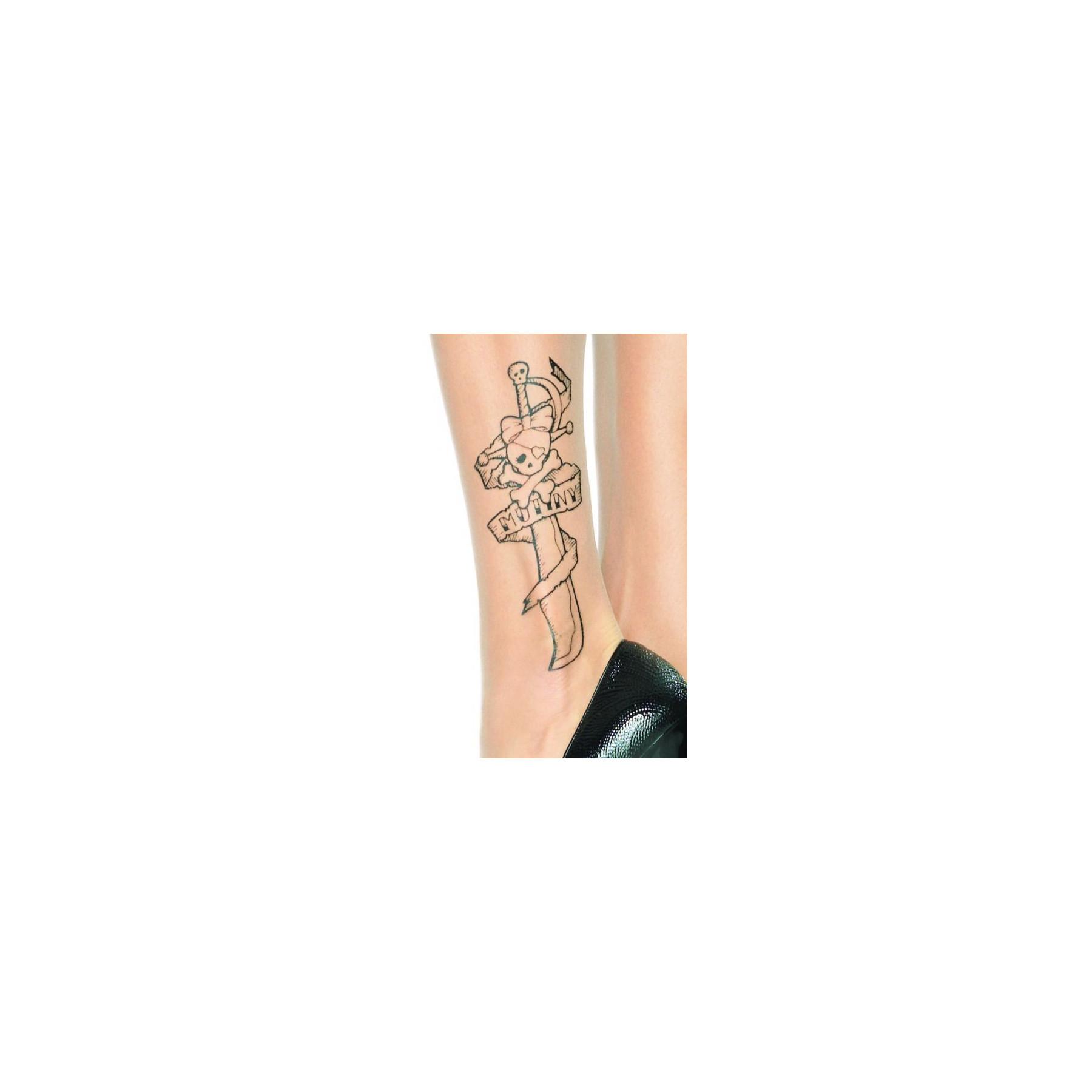 Collant tattoo velati stampa teschio pirata leg avenue