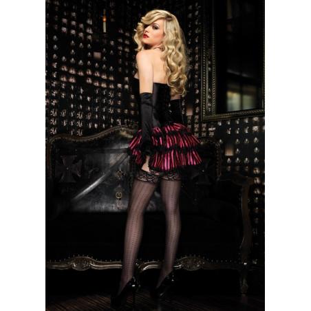 Gonna burlesque a righe nero rosa con balze