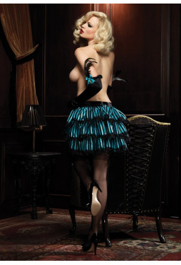 Gonna burlesque a righe nero azzurro con balze
