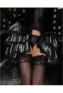 Gonna burlesque a righe nero bianco con balze
