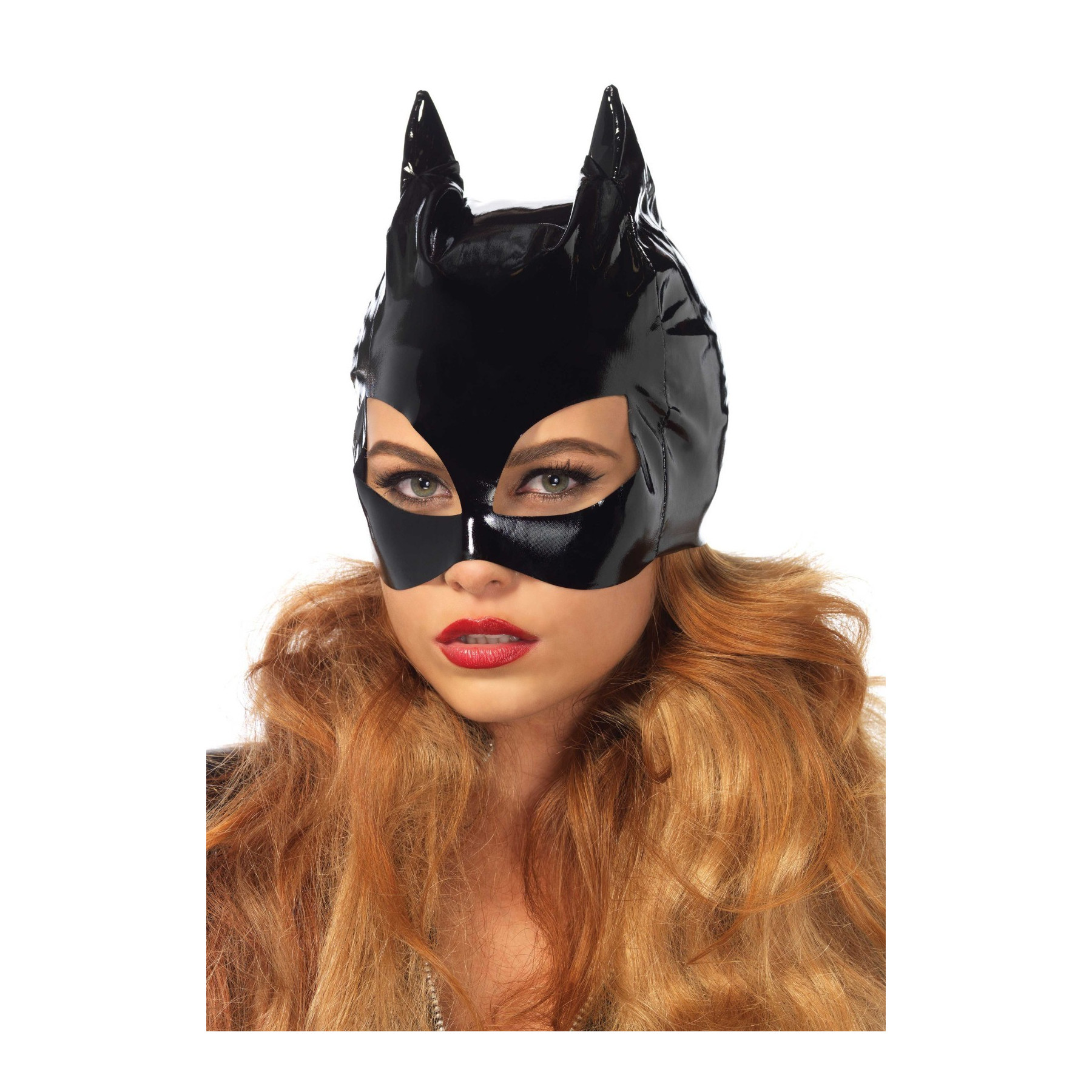 Maschera da Cat Woman in PVC nero lucido Leg Avenue