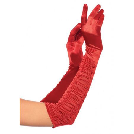 Guanti opera in satin rosso arricciato Leg Avenue