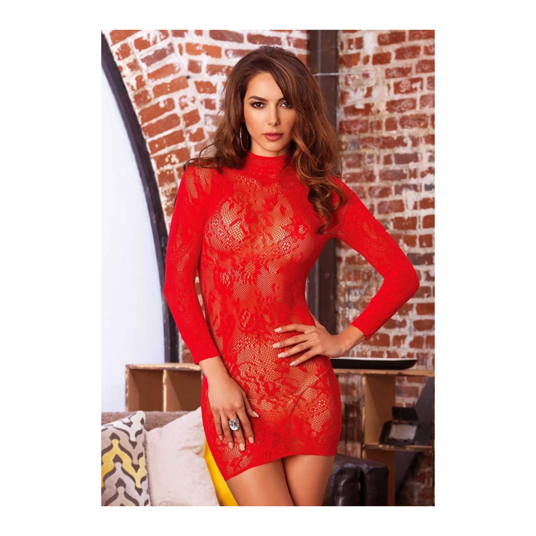 Sexy abito sottoveste in pizzo rosso Leg Avenue