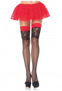 Calze autoreggenti nere rete jacquard balza rossa