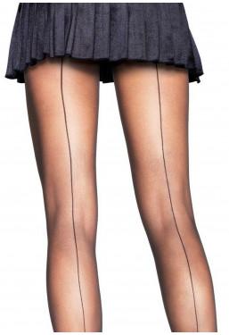 Collant velati neri riga dietro calze velate