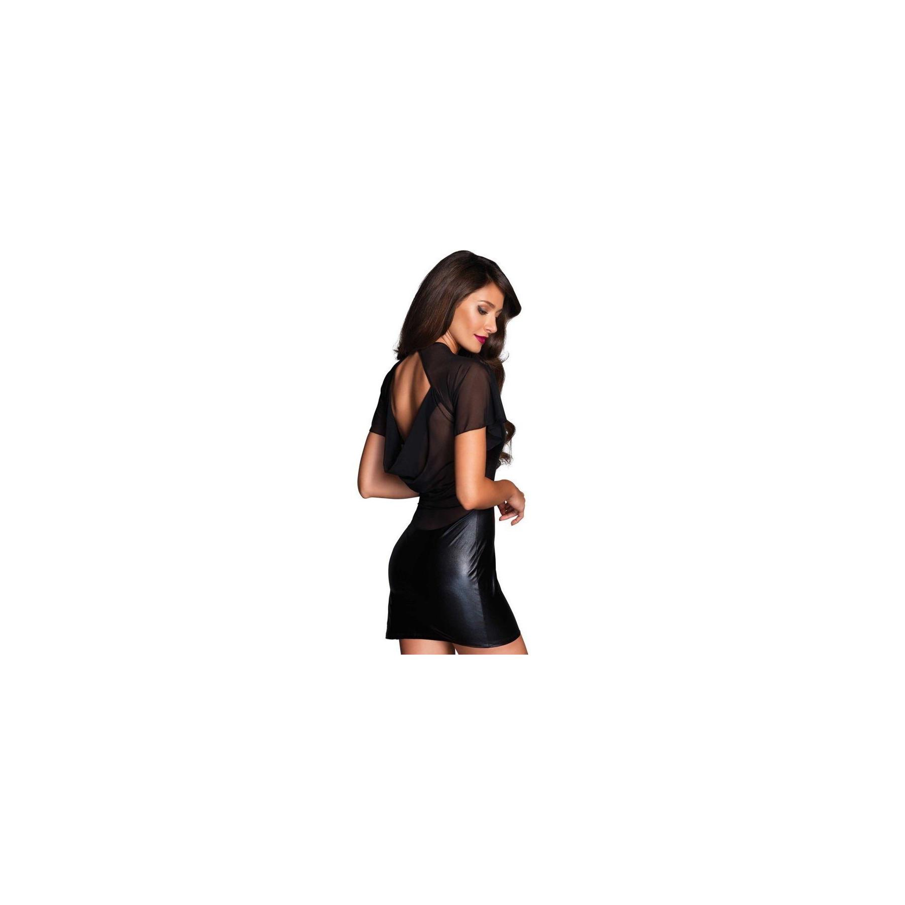 Tubino nero Angelina drappeggiato con maniche a mantella