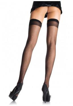 Calze autoreggenti nere velate con strass Leg Avenue