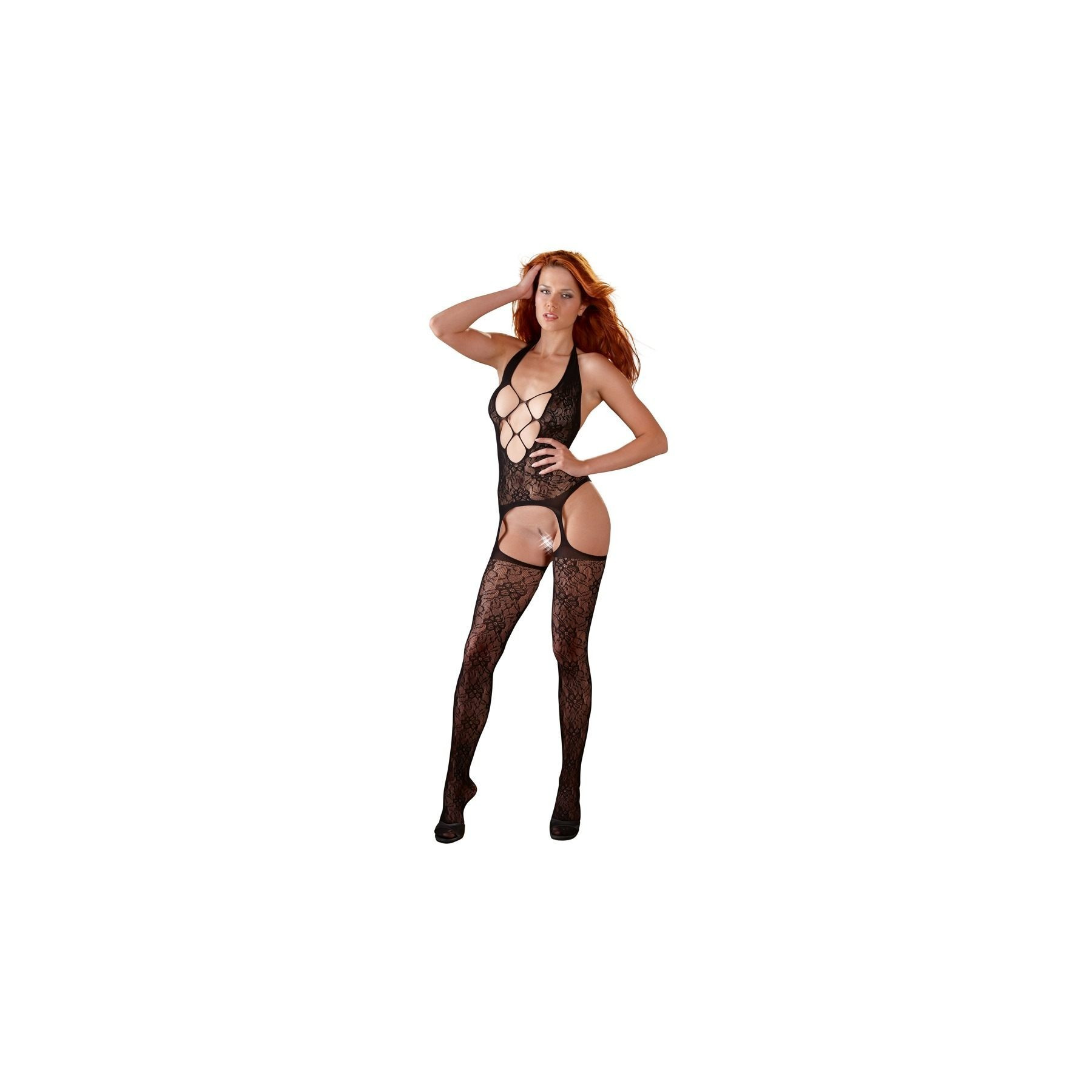Sexy catsuit effetto reggicalze con ricami Mandy Mystery Lingerie