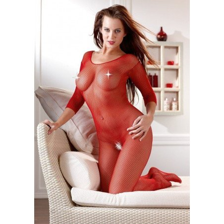 Sexy tutina catsuit rete rosso Mandy Mystery