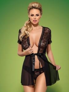 Sexy vestaglia trasparente nera con inserti in pizzo