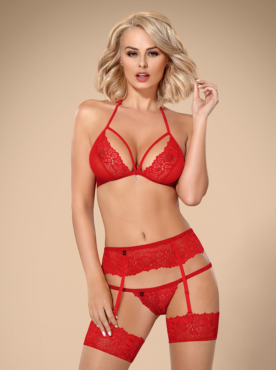 Completino intimo in pizzo rosso 838 Obsessive Lingerie