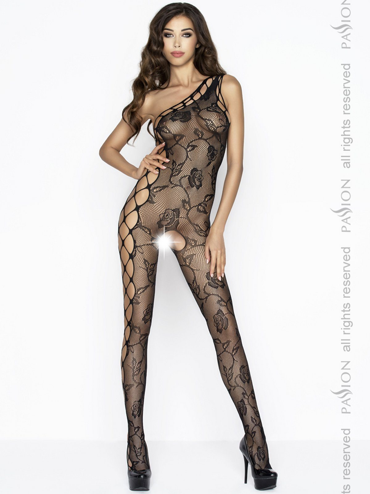 Bodystocking monospalla nero Passion Lingerie