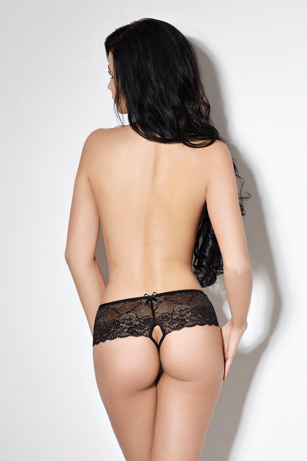 Culotte aperta in pizzo nero Le Frivole Lingerie